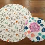 Two circular patterns of fabric cut out for your DIY beeswax wrap.