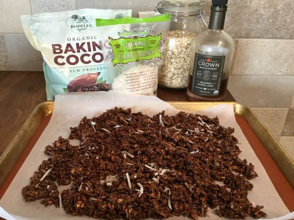 chocolate-granola-baked-with-bourbon-maple-syrup